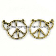 Vintage peace symbol antique bronze heart charms