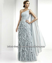 Hot Sale Long One Shoulder Beaded Ruffled Chiffon Evening Dress Fashion 2012