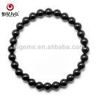 Fashion 6mm Smooth Ball Black Tourmaline Strand Bracelets Good Quality and Factory Price 1D000749A