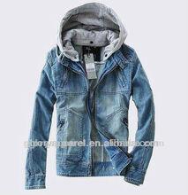 Mens fashion hooded denim jacket with fleece hoodies
