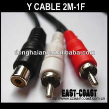 Y Adapter cable 1 RCA Jack to 2 RCA Plugs