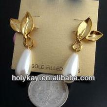 romantic golden leaf tear drop earrings