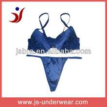 2012 new design satin printed sexy bra and thong set
