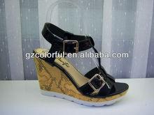 2012 latest lady platform buckle black sandals