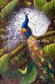 pavo real pintado a mano pintura al óleo