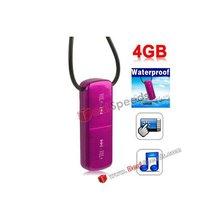 Waterproof Mp3! Wholesale Hot Pink Christmas Gift 4GB IPX7 Waterproof Touch Button Waterproof Mp3