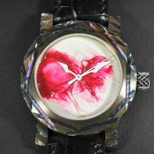 bloody colored face watch, nice design watches for art