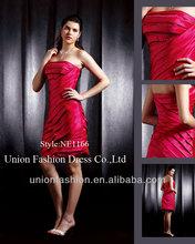 Elegant romantic rose red knee-length high class satin strapless evening dress 2015 ruffles design turkish evening dresses china