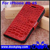 Wholesale Wallet Flip Case for iPhone 4 4G 4S Crocodile Leather Cover