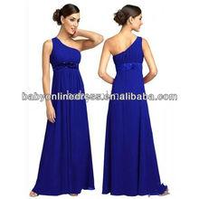 Wholesale 2012 Discount One Shoulder Royal Blue Chiffon Long Bridemaid Dresses