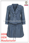 high fashion ruffle front long sleeve dress blue jeans