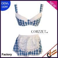 Blue tartan design bar maid costumes sexy