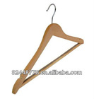 44 x 1.3cm Angled Wooden Suit Hanger with notches and non-slip rubber on the bar in Natural colour