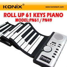 piyano 61 tuşları Esnek yukarı doğru döndürün Yumuşak elektronik katlanabilir klavye midi üzerinden synthesizer