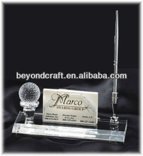 Fashion design crystal glass business card holder with metal pen holder for office supply