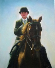 Portrait Boy Ride A Horse Handmade oil painting on canva