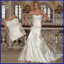 Designer Elegant Strapless Soft Satin Slim A-Line Wedding Dresses 2012