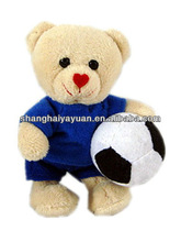 Small standing bear plush toy/football bear stuffed toy/stuffed bear