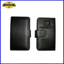 Carbon Fiber Wallet Leather Case for Samsung Galaxy S2 i9100,Flip Case--Laudtec