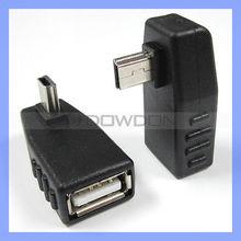 Right plus Left angle 90 degree mini B 5pin Male to USB A Female connector