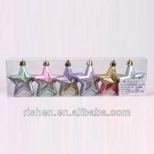 6cm beautiful plastic christmas hanging star decoration