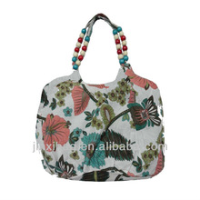 wood bead handle fashion flowers handbag for women
