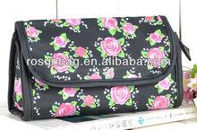 Folding cosmetic bag black rose handbag cosmetic bag