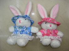 Lovely gift white rabbit plush/custom dressed stuffed large ear bunny