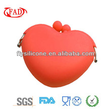 colorful heart shape silicone wallet mini size, lock easy for shopping