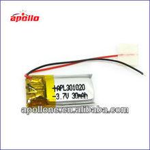 small lipo battery30mAh 3.7V for video pen /bluetooth