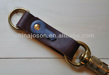 Oxblood and Cornflower Leather and Solid Brass Key Fob- Unique Molded Leather Key and Twist Bolt