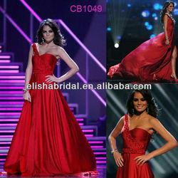 Jimena Navarrete One Shoulder Beaded Trim Floor Length Chiffon Designer Red Dresses