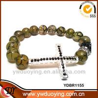 wholesale sideways cross bracelet with stone beaded