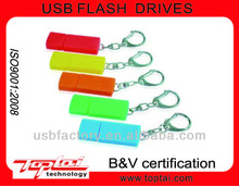 8GB plastic keychain Customized USB with dust cover USB 2.0 many color available