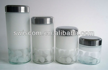 Frosted glass canister set with metal lid SL056-F15-ABCD3