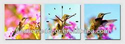 Humming Bird At Flower wood art, islam wall art set clock for wall
