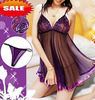 Transparent bud silk pajama Sexy Lingerie Dress+G string Set One Size Sleepwear, Underwear, Uniform, W1344