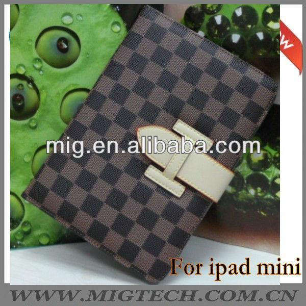chequer book leather case for ipad mini, for ipad mini case
