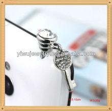 Decorative Cell Phone Accessories Mobile Phone Daggle Rhinestone Key Charm Dust Plug Earplug Jack Crystal Dust Plug