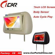 body sensor SD/MMC/CF for ads 7 inch widescreen car headrest monitor for car