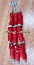 Animal Plush Dog Toys of Sausage with Rope