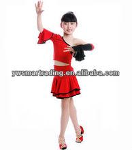 Wholesale girls performance skirt children latin dance wear red dane wear 2013