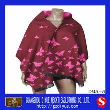 Fashion Wine Shawls and Pashmina with Butterfly for Girls