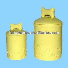 Fresh yellow ceramic pet dish dog treat holder
