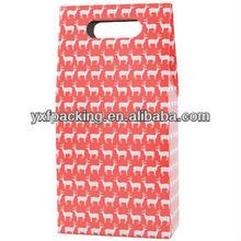 Double Wine Bottle Carrier - Reindeer RED