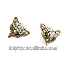 new earring ! cat head with diamond decorate earrings