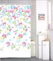Colores de la mariposa de tela ducha/cortina de baño anillos +12/ganchos - color topo