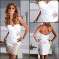 diseño con estilo sexy 2013 tafetán corto blanco porlamañanavestido