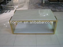 D2338-D modern rectangular jazz white marble coffee table with golden plated steel frame
