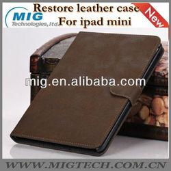 Restore style book leather case for ipad mini, for mini ipad case